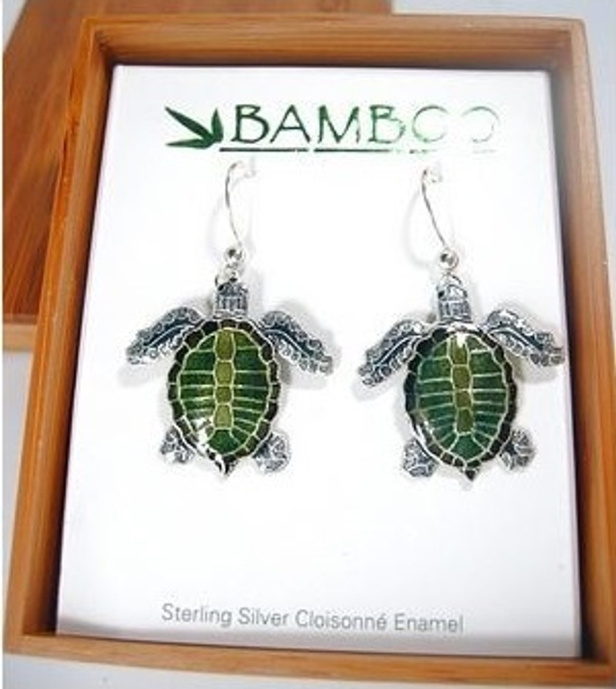 Olive Ridley Sea Turtle Cloisonne Wire Earrings | Bamboo Jewelry | BJ0075e -2