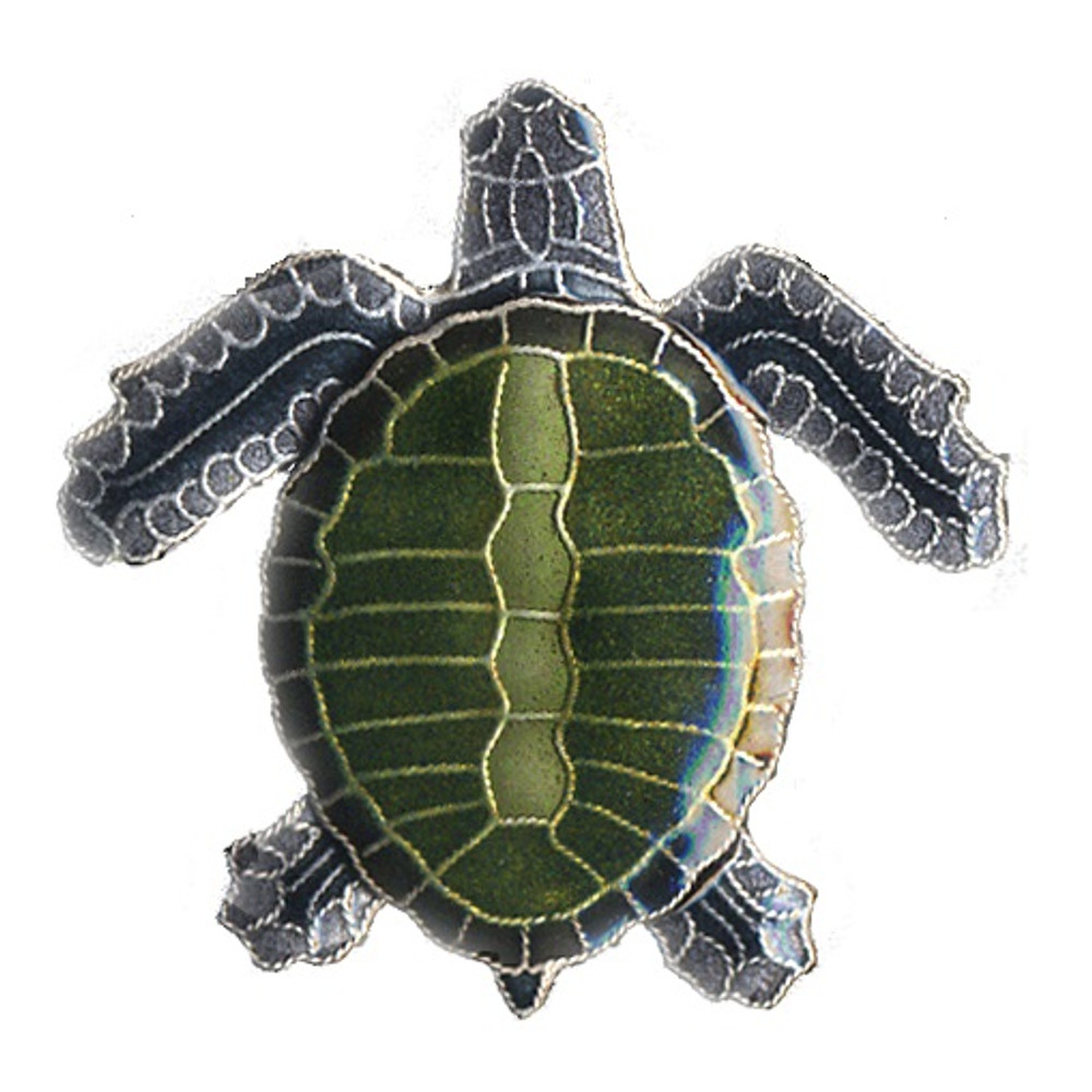 Olive Ridley Sea Turtle Cloisonne Pin | Bamboo Jewelry | BJ0075p