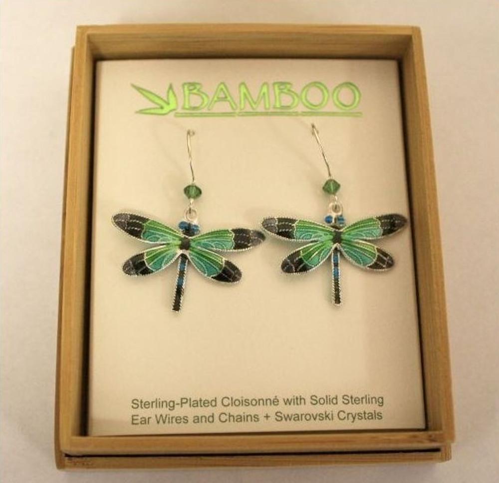Radiant Gossamer Wing Dragonfly Wire Earrings | Bamboo Jewelry | BJ0076E