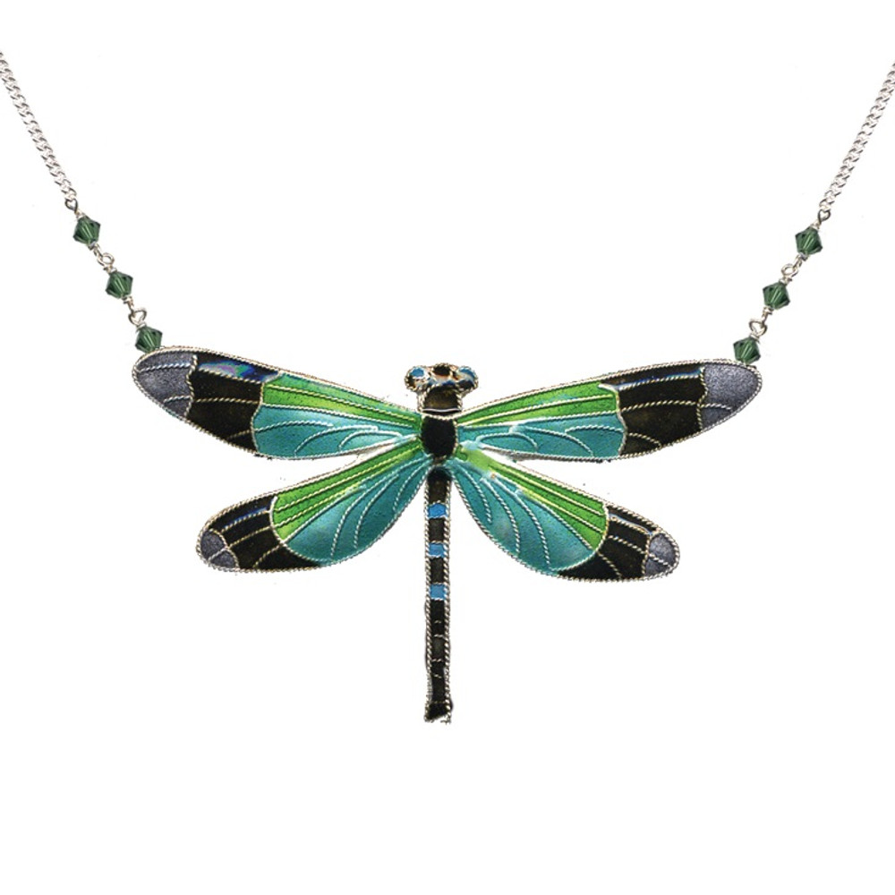 Radiant Gossamer Wing Dragonfly Large Necklace | Bamboo Jewelry | BJ0076LN