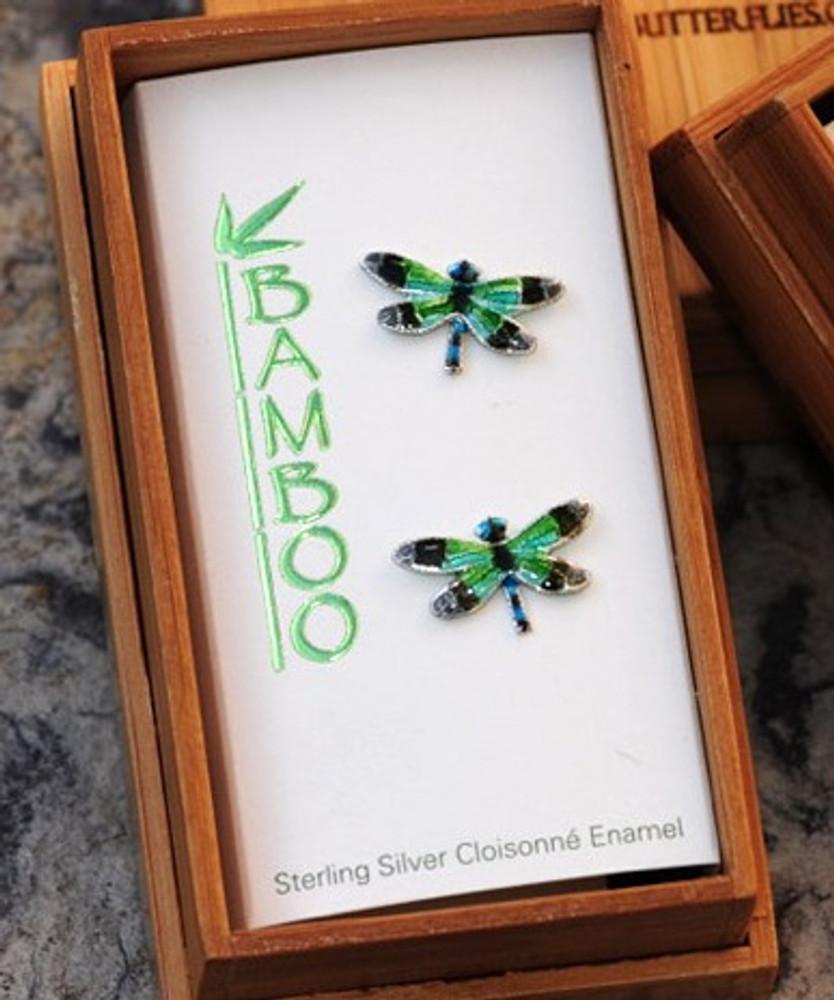Radiant Gossamer Wing Dragonfly Cloisonne Post Earrings | Bamboo Jewelry | bj0076pe