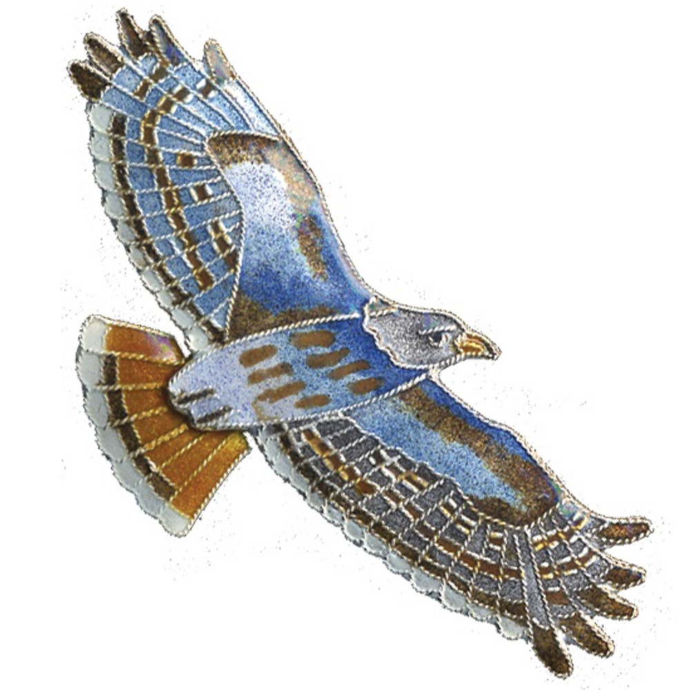 Red Tailed Hawk Cloisonne Pin | Bamboo Jewelry | bj0096p
