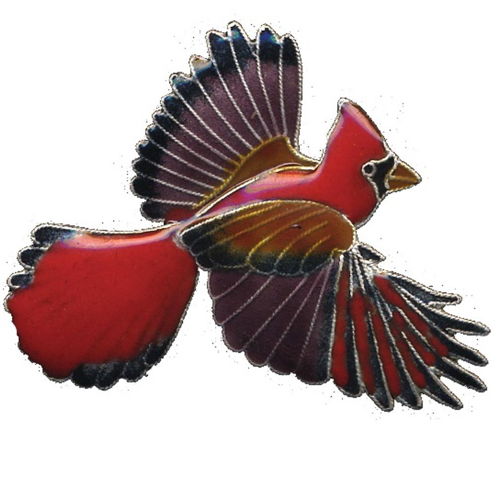 Cardinal Cloisonne Pin   Bamboo Jewelry   bj0113p