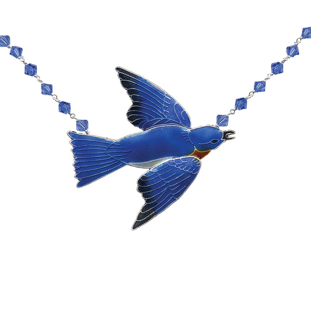 Bluebird Cloisonne Crystal Necklace | Bamboo Jewelry | 0119cn