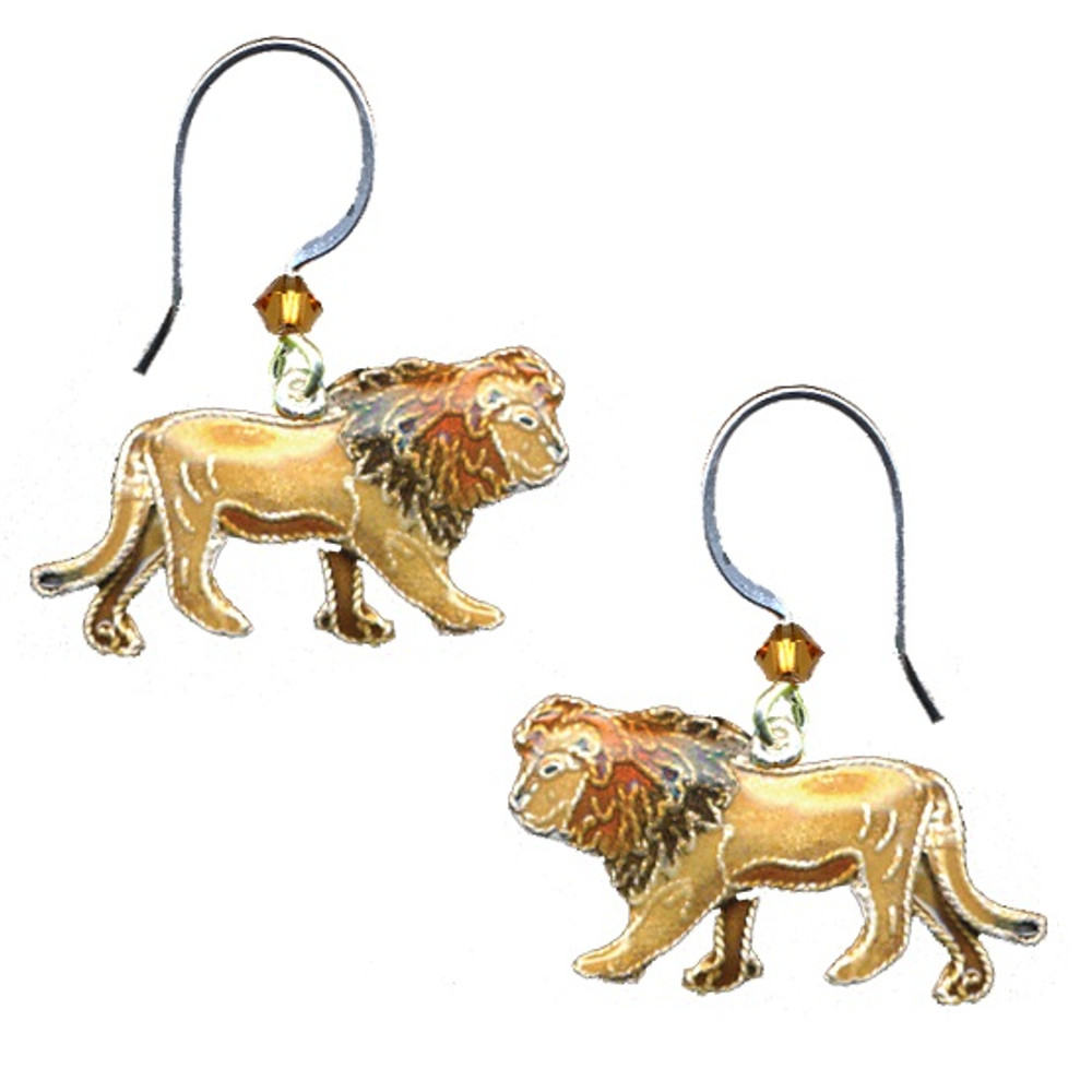 Lion Cloisonne Wire Earrings | Bamboo Jewelry | bj0162e