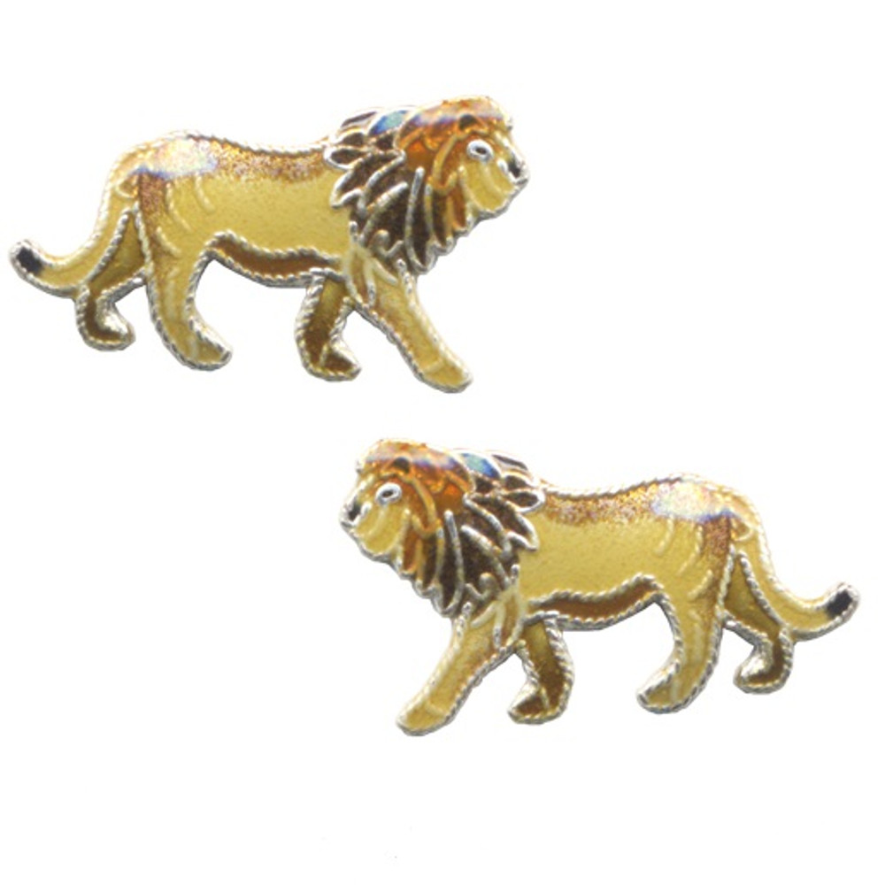 Lion Cloisonne Post Earrings | Bamboo Jewelry | bj0162pe