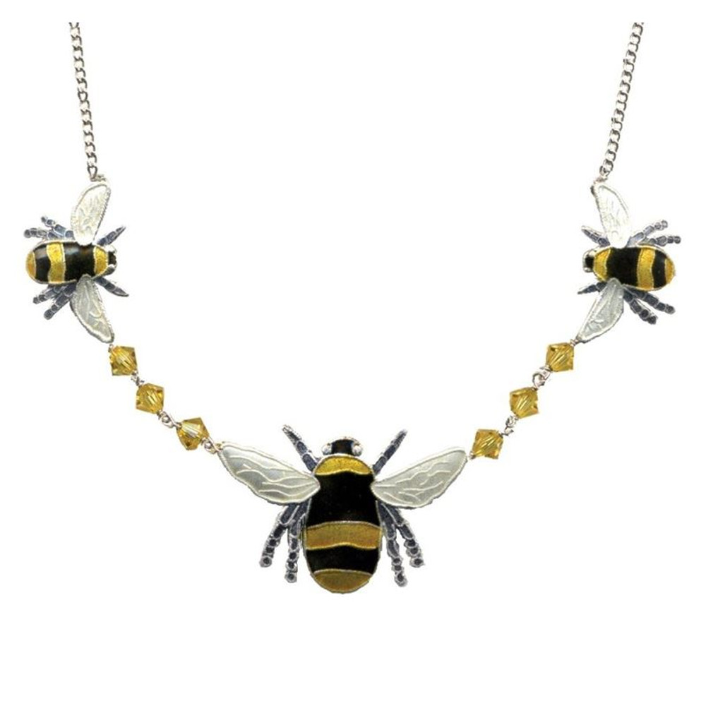 Bumble Bee Cloisonne Crystal Necklace | Bamboo Jewelry | bj0166cn