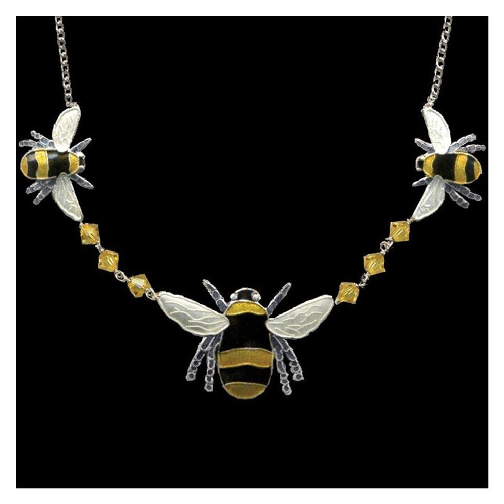Bumble Bee Cloisonne Crystal Necklace | Bamboo Jewelry | bj0166cn -2