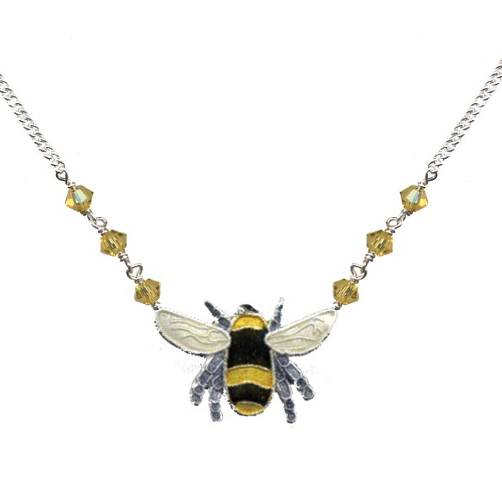 Bumble Bee Cloisonne Small Necklace | Bamboo Jewelry | bj0166sn