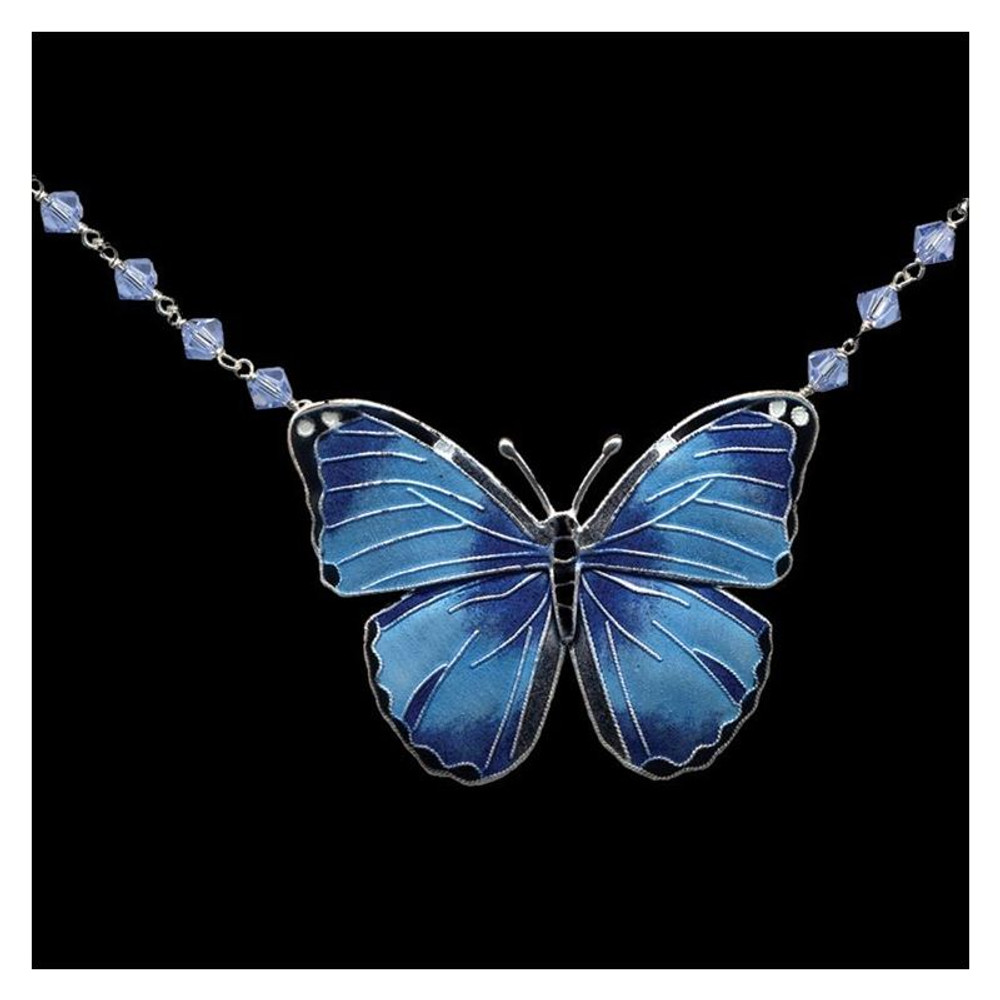 Blue Morpho Butterfly Cloisonne Necklace | Bamboo Jewelry | BJ0168cyn