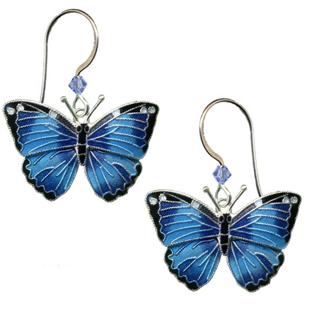 Blue Morpho Butterfly Cloisonne Wire Earrings | Bamboo Jewelry | bj0168e