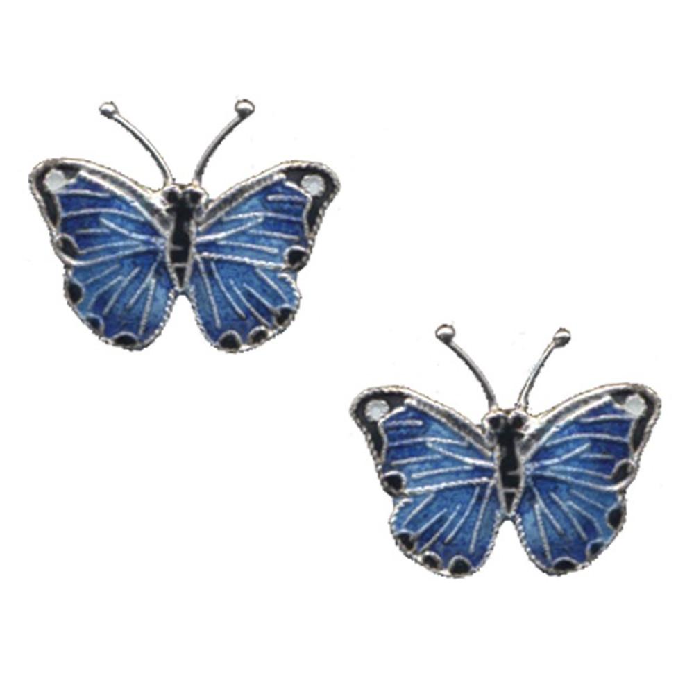 Blue Morpho Butterfly Cloisonne Post Earrings   Bamboo Jewelry   bj0168sppe