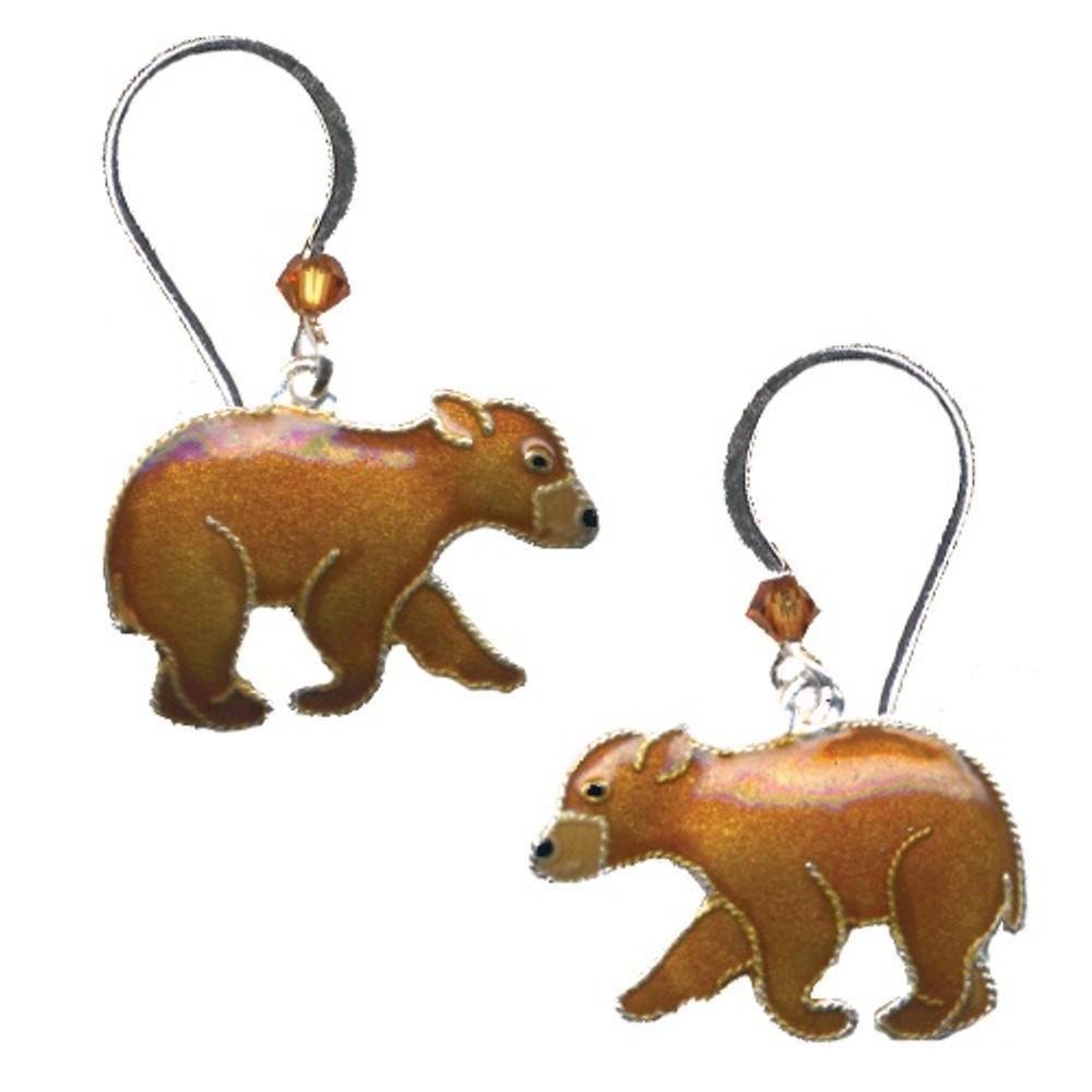 Bear Cub Cloisonne Wire Earrings   Bamboo Jewelry   bj0180e