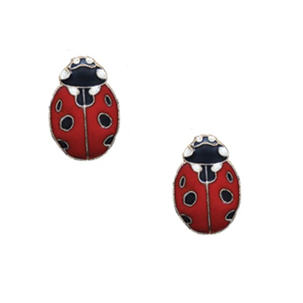 Ladybug Cloisonne Post Earrings | Bamboo Jewelry | bj0188pe