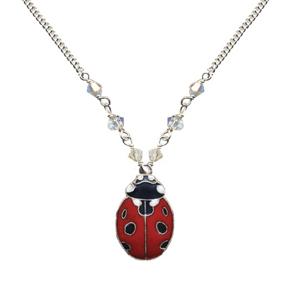 Ladybug Cloisonne Small Necklace | Bamboo Jewelry | bj0188sn
