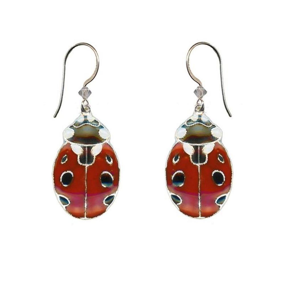 Ladybug Cloisonne Wire Earrings | Bamboo Jewelry | bj0188spE