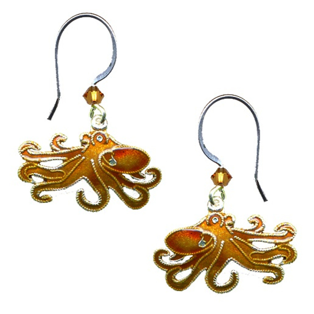 Octopus Cloisonne Wire Earrings | Bamboo Jewelry | bj0215e
