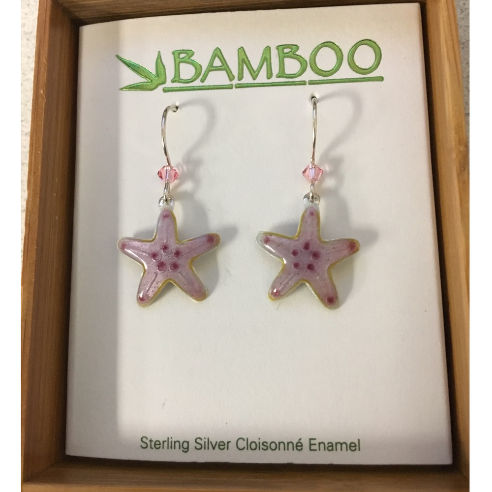 Pink Starfish Cloisonne Wire Earrings | Bamboo Jewelry | BJ0225E