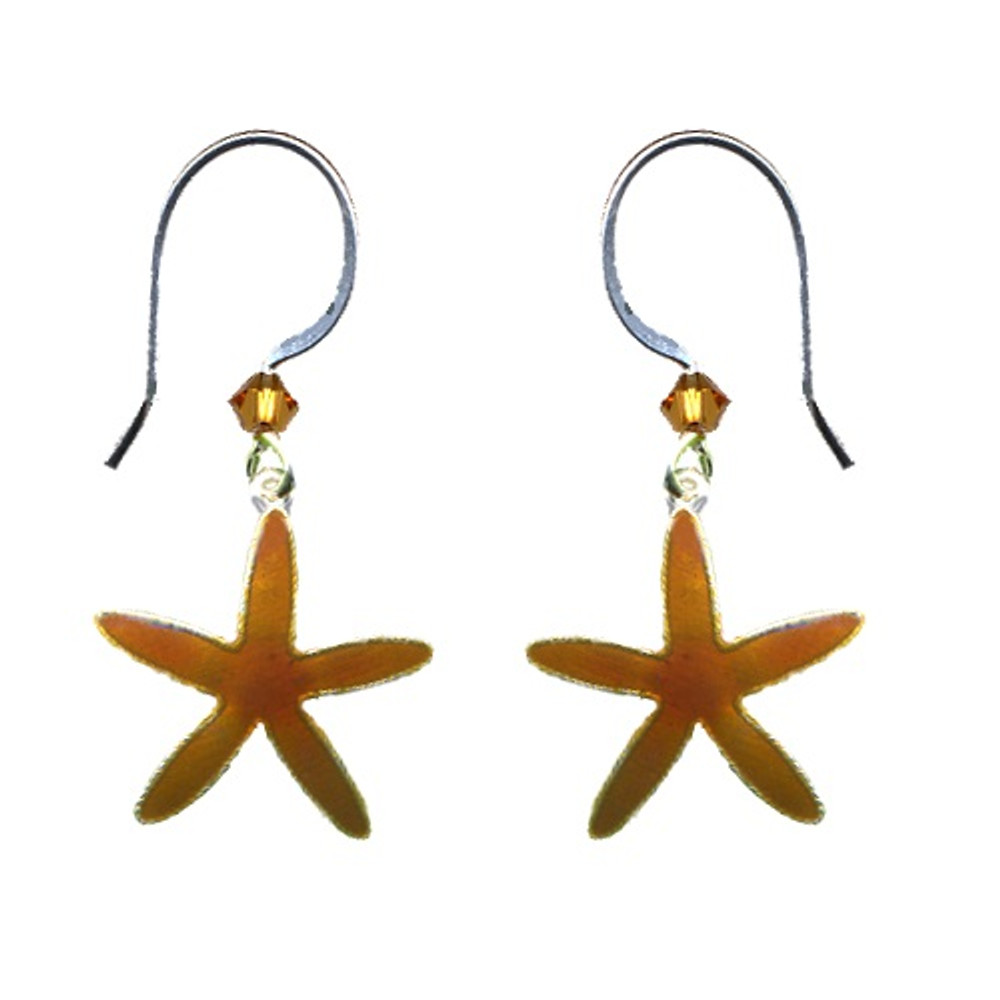 Sea Star Cloisonne Wire Earrings   Bamboo Jewelry   BJ0231e