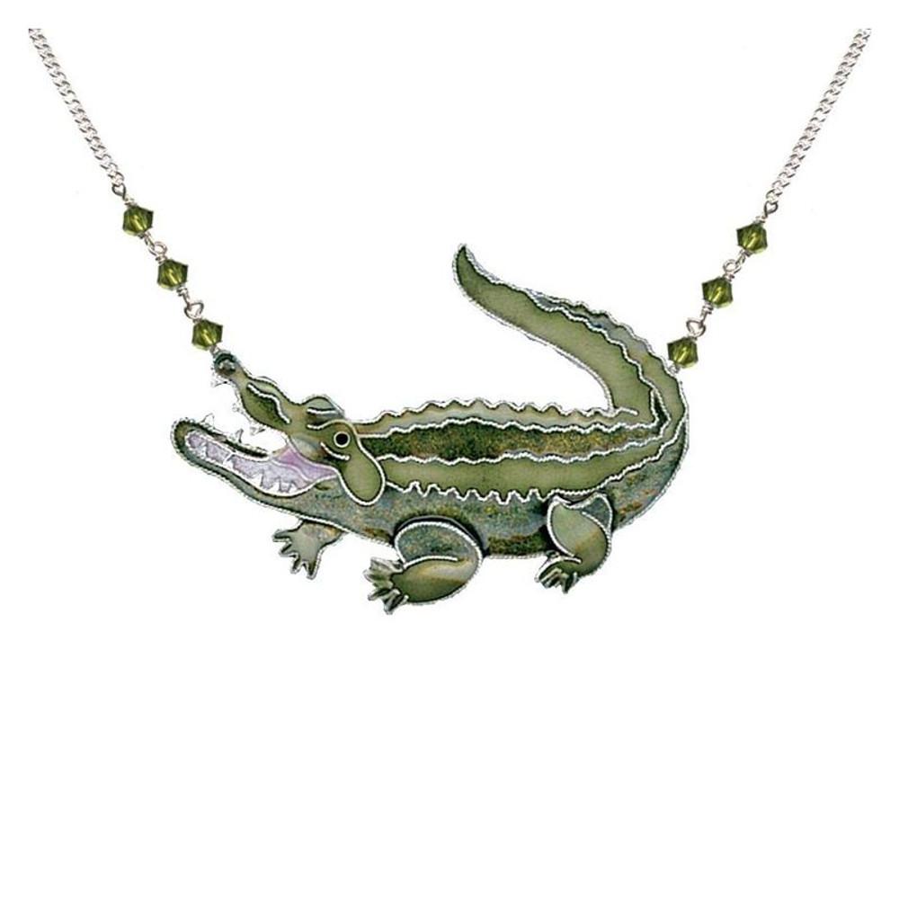 Alligator Large Cloisonne Pendant Necklace | Bamboo Jewelry | BJ0239LN