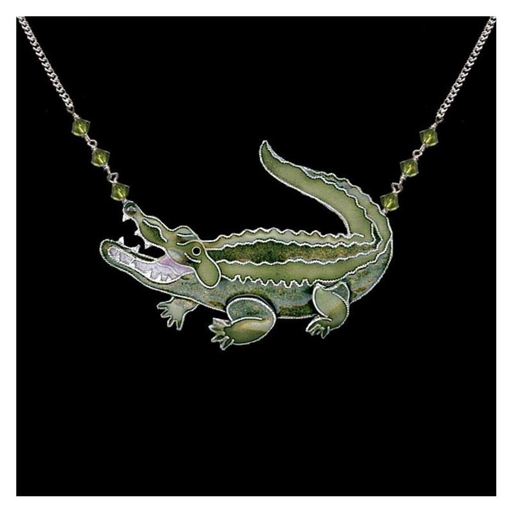 Alligator Large Cloisonne Pendant Necklace | Bamboo Jewelry | BJ0239LN -2
