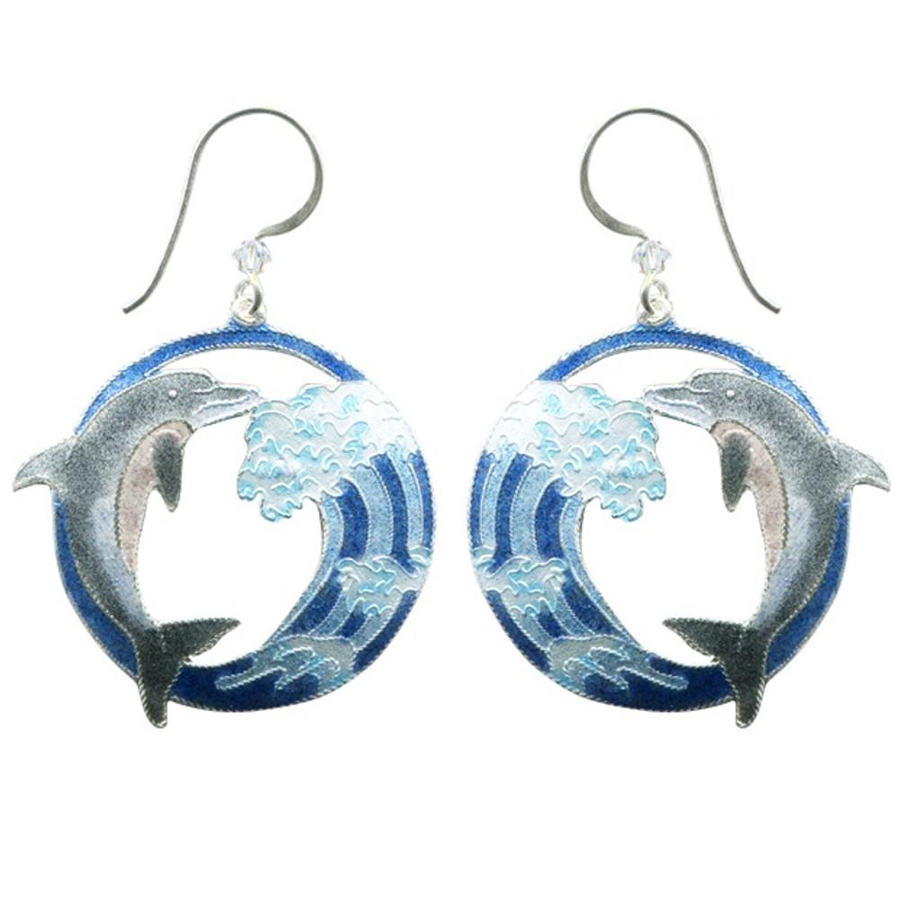 Hokusai Dolphin Wave Wire Earrings | Bamboo Jewelry | BJ0243E