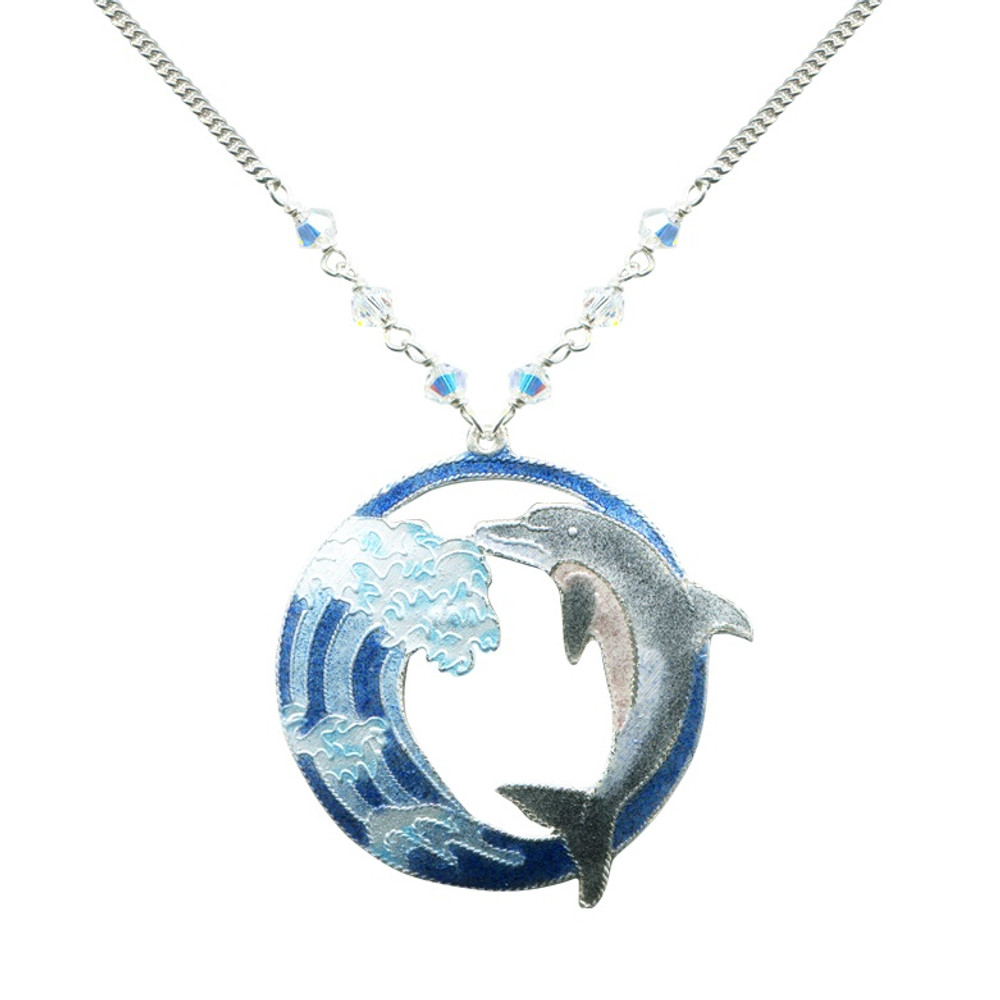 Hokusai Dolphin Wave Necklace | Bamboo Jewelry | BJ0243LN