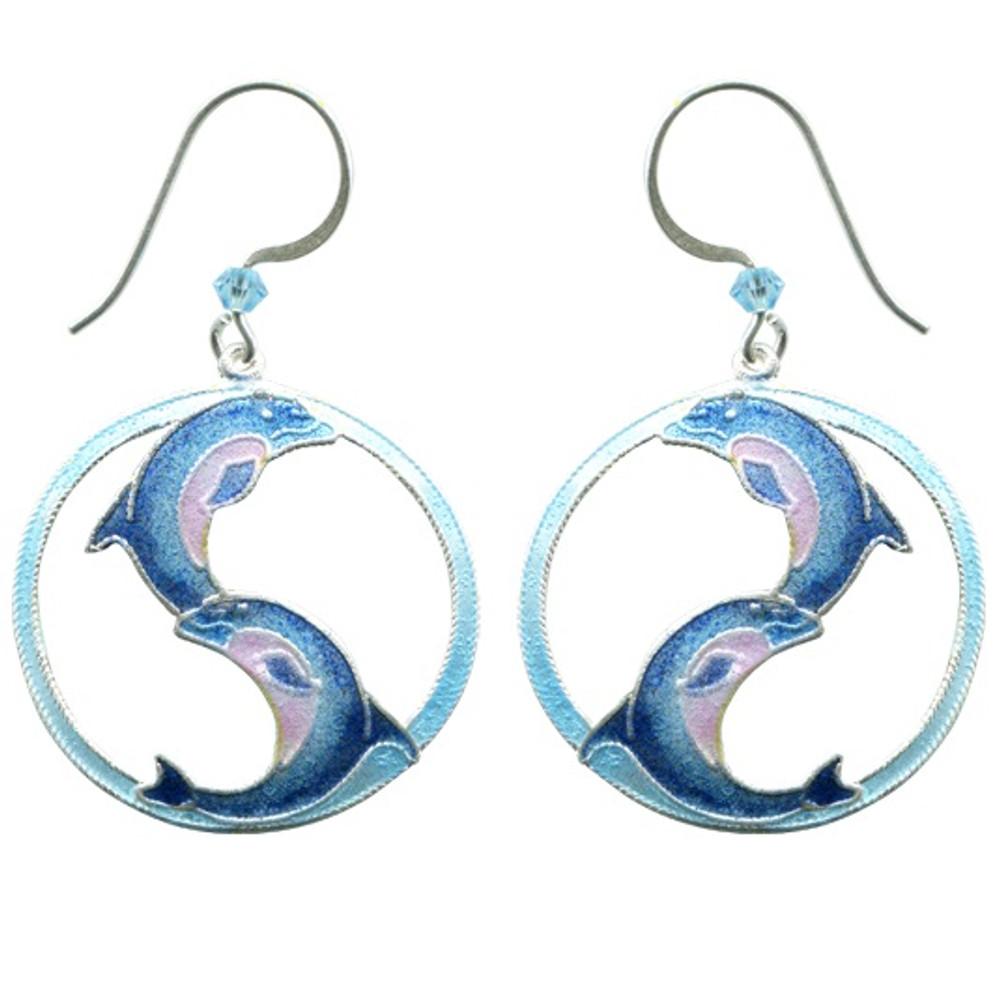 Ying Yang Dolphin Wire Earrings   Bamboo Jewelry   BJ0249E