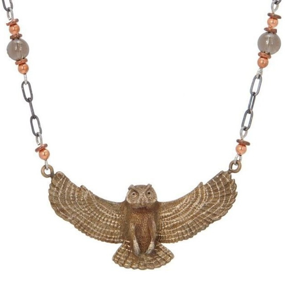 Great Horned Owl Pendant Necklace | Cavin Richie Jewelry | DMOKB2072BN