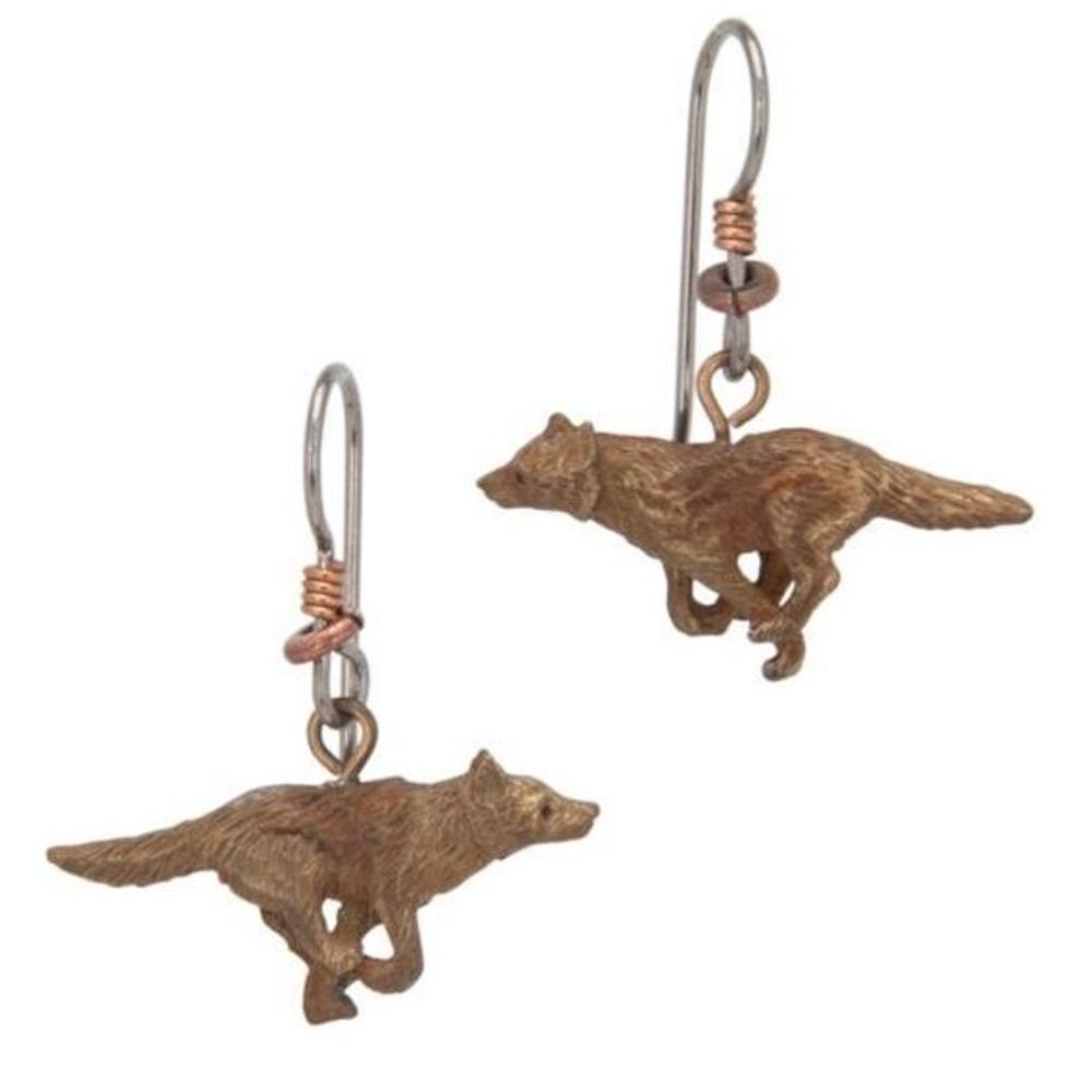 Wolf Running Earrings   Cavin Richie Jewelry   DMOKBE-72-FH