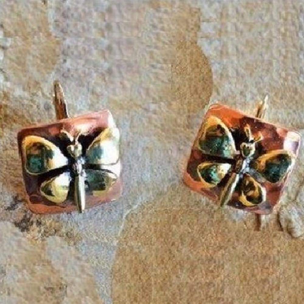 Butterfly Bimetal Victorian Earrings | Elaine Coyne Jewelry | ECGBUX256e