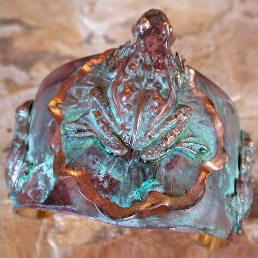 Large Frog Lily Pad Verdigris Brass Cuff Bracelet | Elaine Coyne Jewelry | ECGDCP8969CF