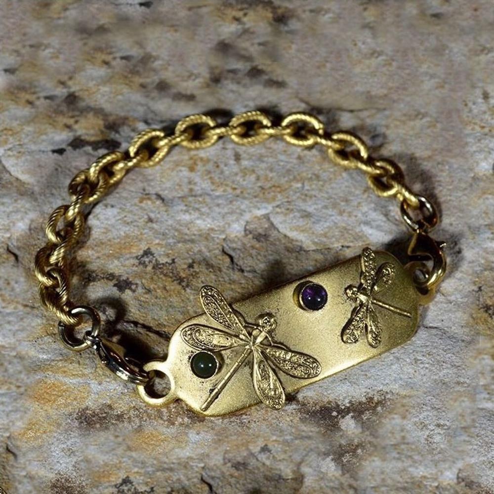 Dragonfly Antiqued Gold Brass Bracelet-Amethyst-Jade | Elaine Coyne Jewelry | ECGNASG31rb-5