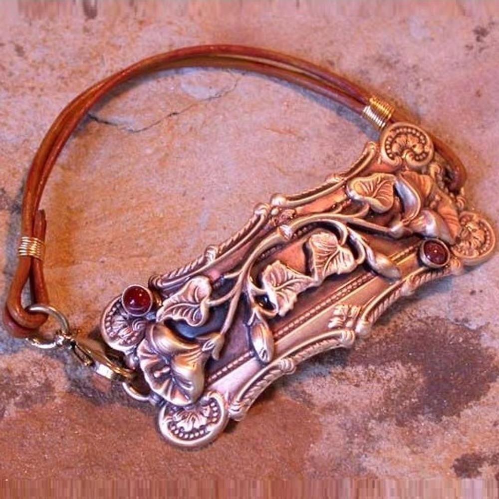 Pansy Solid Brass Rawhide Rockband Bracelet | Elaine Coyne Jewelry | ECGNB128rb