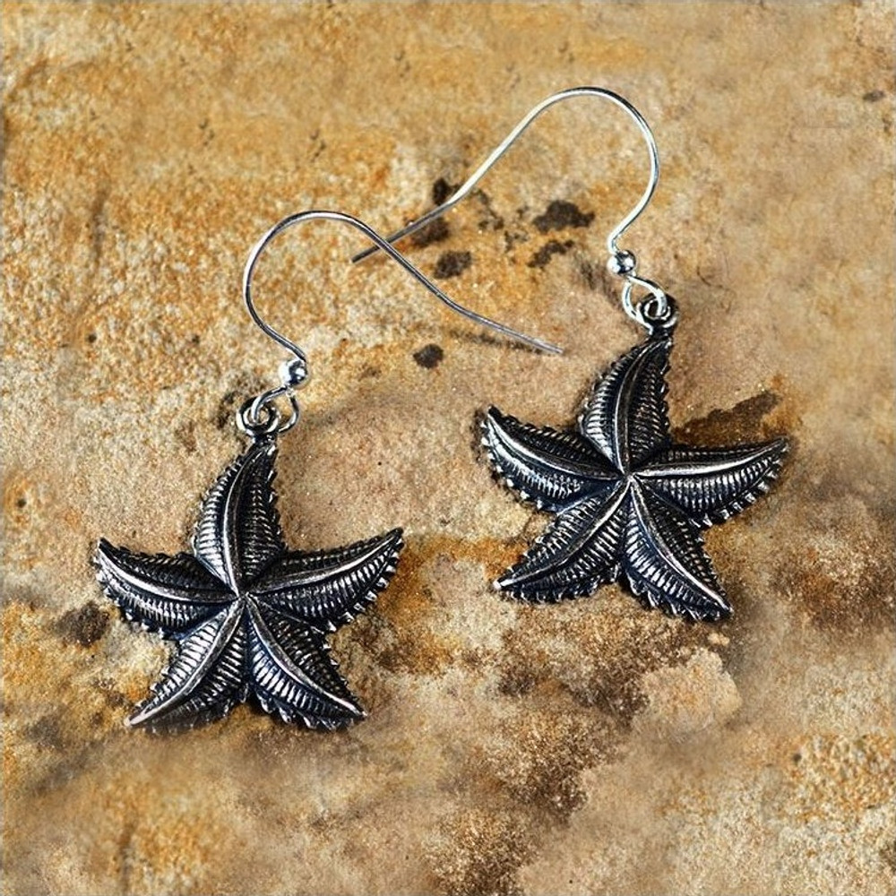Starfish Antiqued Silver Brass Earrings | Elaine Coyne Jewelry | ECGOCAS702E
