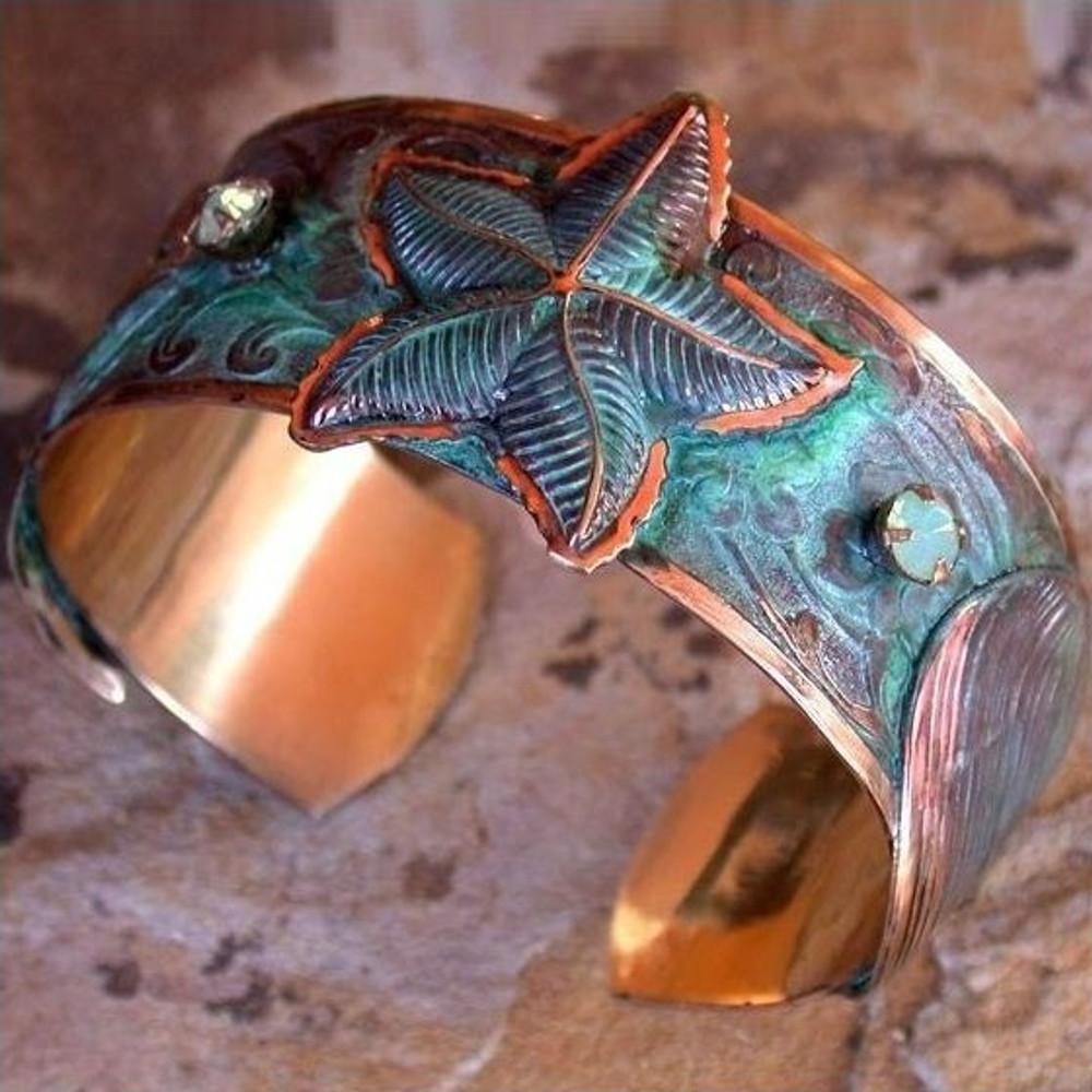 Starfish Verdigris Brass Cuff Bracelet | Elaine Coyne Jewelry | ECGOCP15bc
