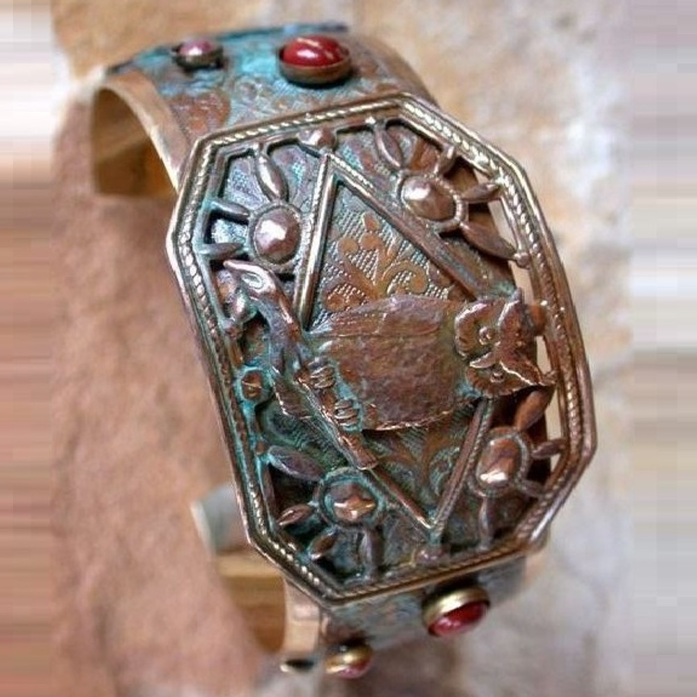 Owl Brass Cuff Bracelet | Elaine Coyne Jewelry | ECGOWO11BC