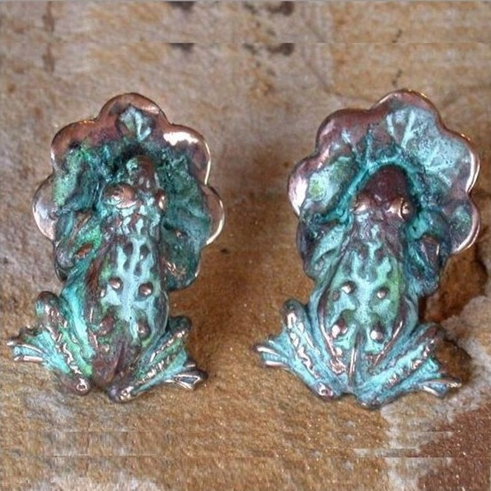 Frog & Lily Pad Verdigris Brass Post Earrings | Elaine Coyne Jewelry | ECGP3029E