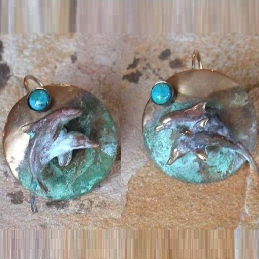 Dolphin Verdigris Brass Earrings   Elaine Coyne Jewelry   ECGPL1741e