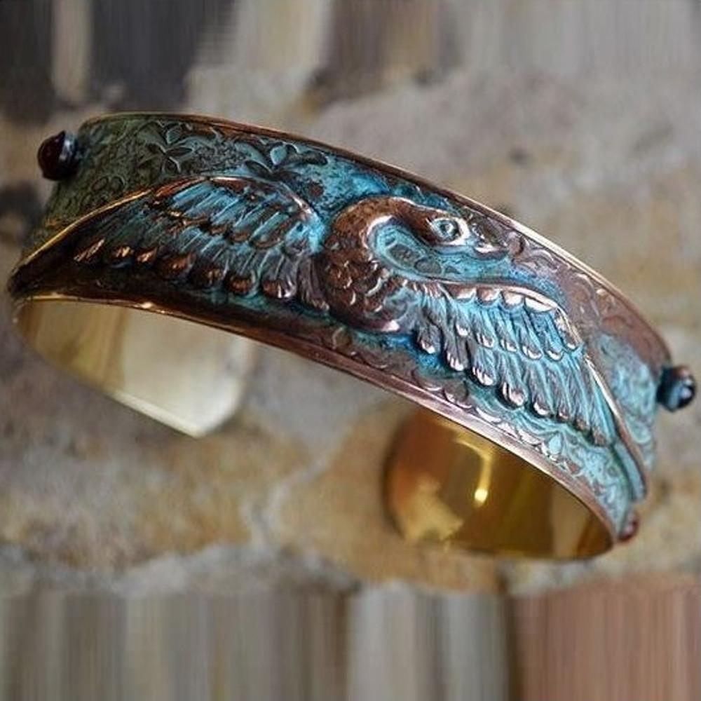 Swan Verdigris Cuff Bracelet   Elaine Coyne Jewelry   ECGSWO196bc