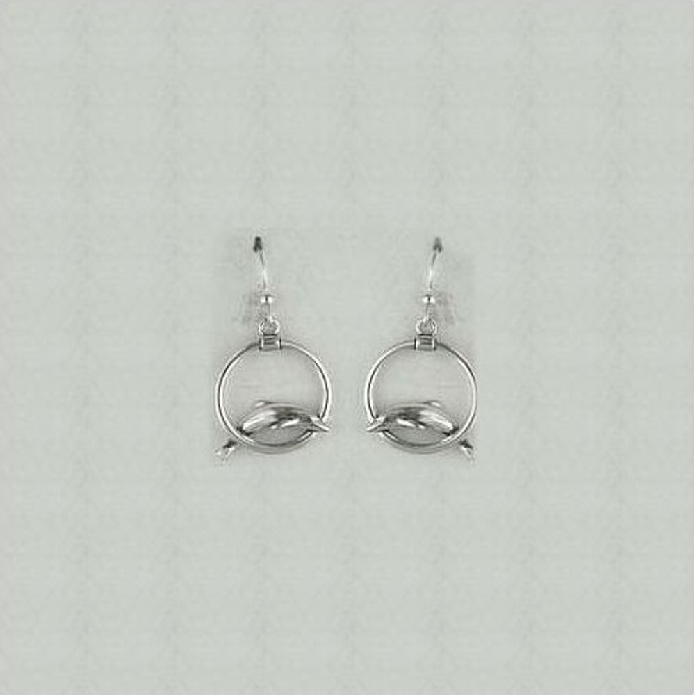 Dolphin Circle Sterling Silver Wire Earrings   Kabana Jewelry   Ke090