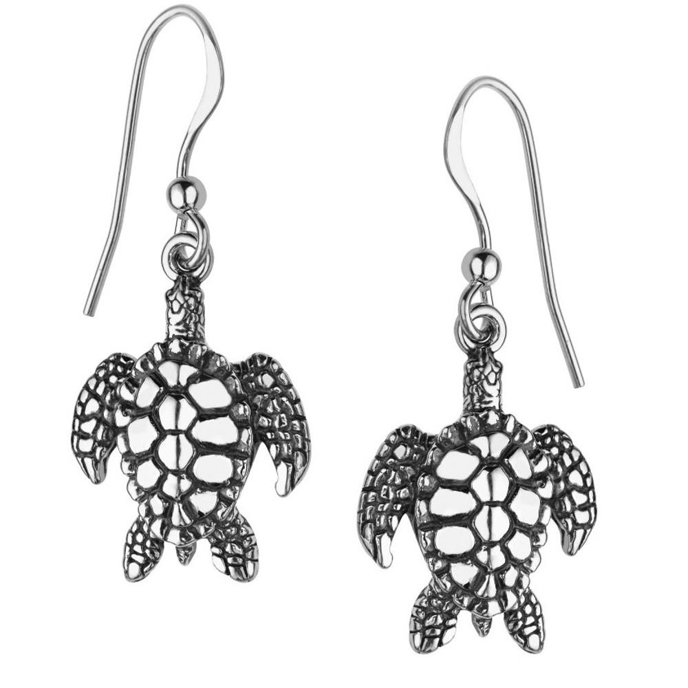 Sea Turtle Sterling Silver Wire Earrings   Kabana Jewelry   Ke191