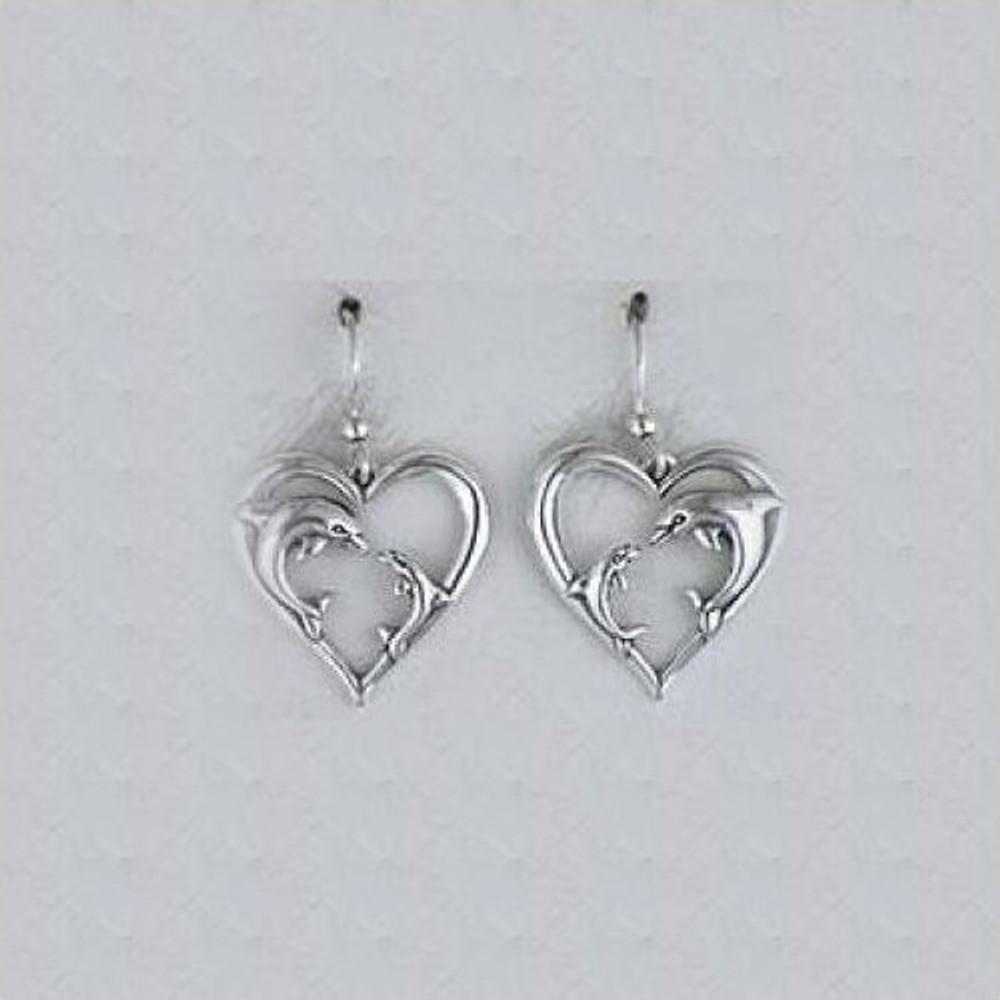 Dolphin Heart Sterling Silver Earrings | Kabana Jewelry | Ke382