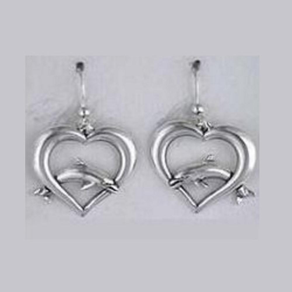 Dolphin on Heart Sterling Silver Wire Earrings   Kabana Jewelry   Ke423