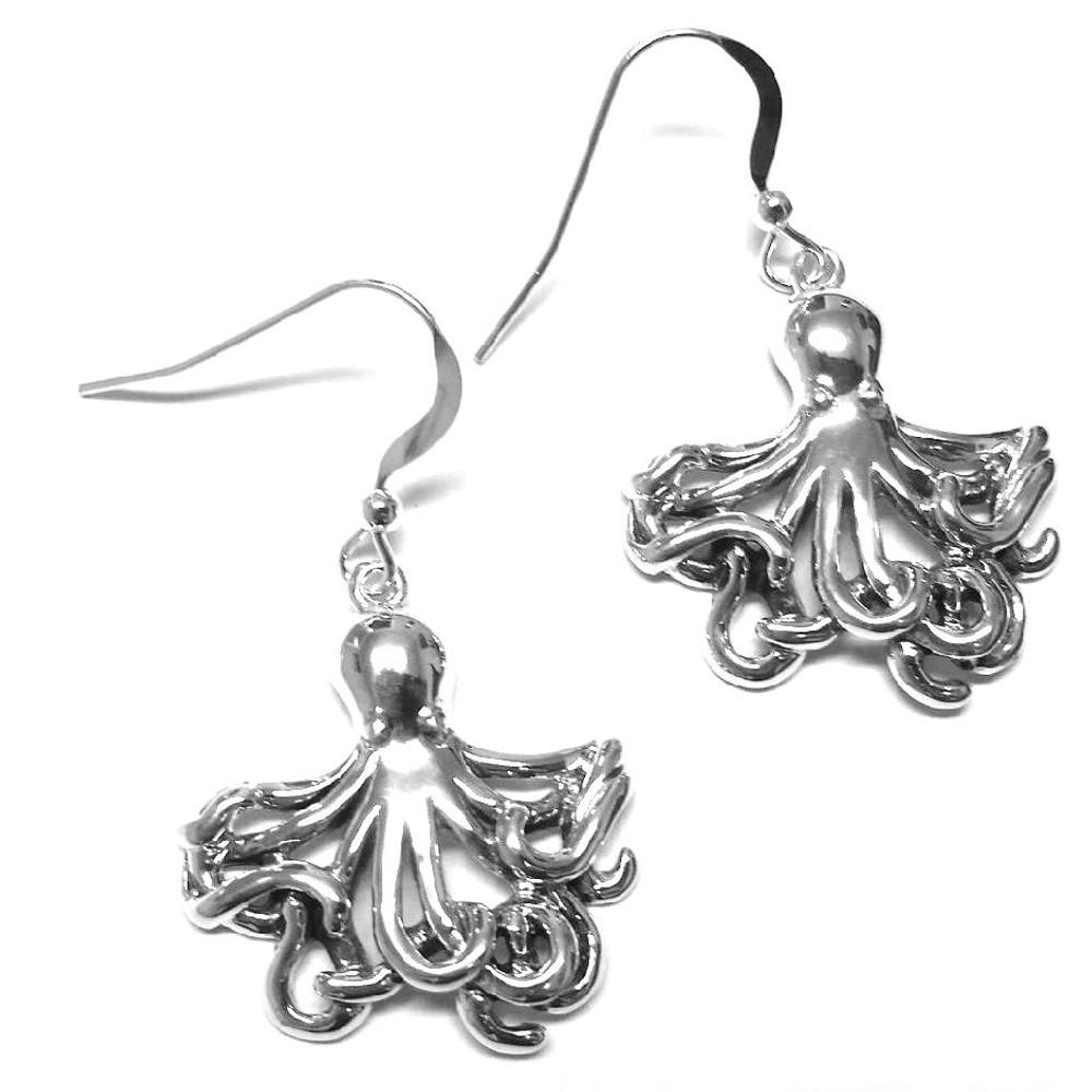 Octopus Sterling Silver Wire Earrings | Kabana Jewelry | Ke506