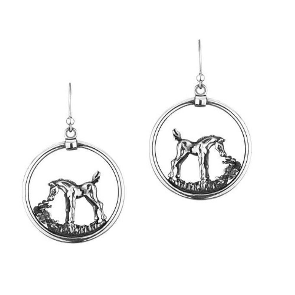 Arabian Horse Foal Sterling Silver Wire Earrings | Kabana Jewelry | Ke620