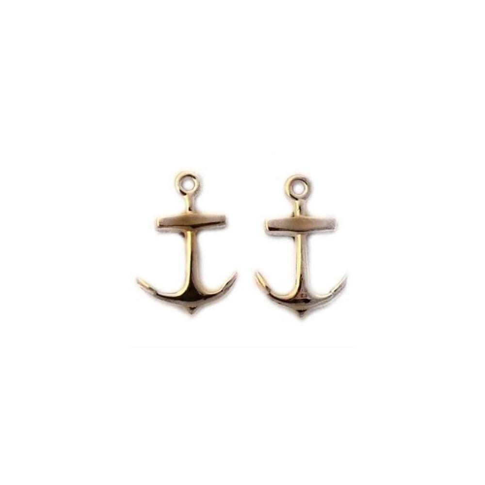 Anchor 14K Gold  Pierced Earrings   Kabana Jewelry   Kge611