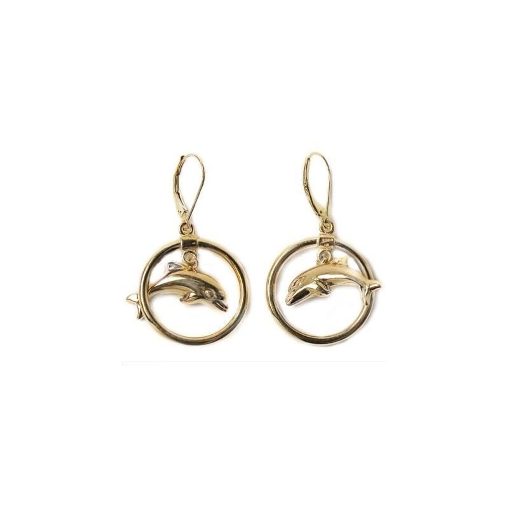 Dolphin Circle 14K Gold Wire Earrings | Kabana Jewelry | Kge659