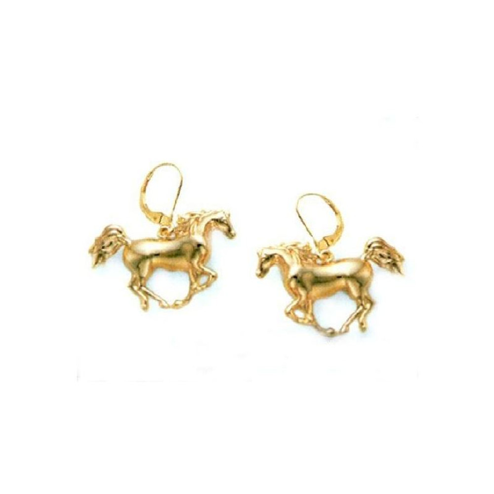 Cantering Arabian Horse 14K Gold Wire Earrings | Kabana Jewelry | Kge936