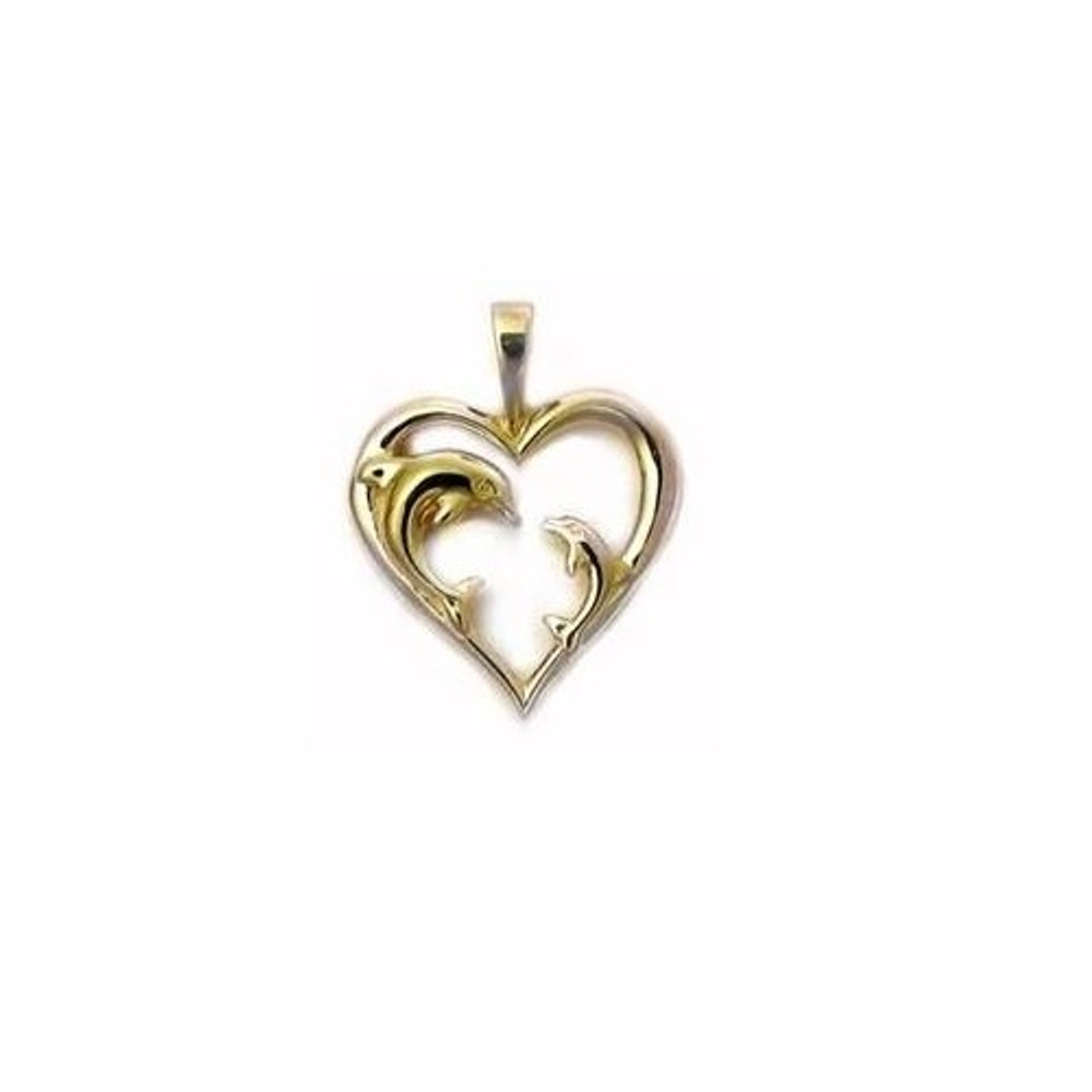 Dolphin Heart 14K Gold Pendant   Kabana Jewelry   Kgp533